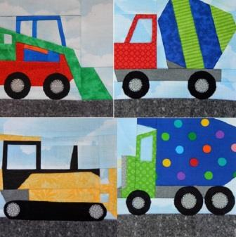 Paper Pieced Construction Vehicles by Ms P Designs USA
