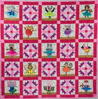 Ballerina Animal quilt; pattern by Ms P Designs USA