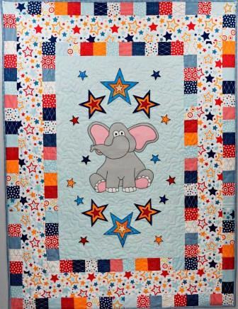 Elephant Quilt with Stars by Ms P Designs USA