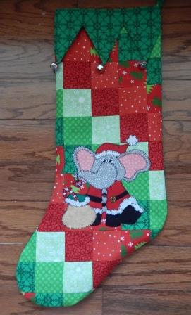 Santa Elephant Christmas Stocking by Ms P Designs USA