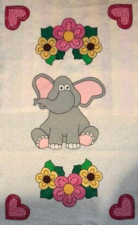 Sweet elephant quilt panel, stitched