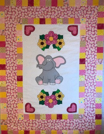 Sweet elephant quilt top, ready to quilt