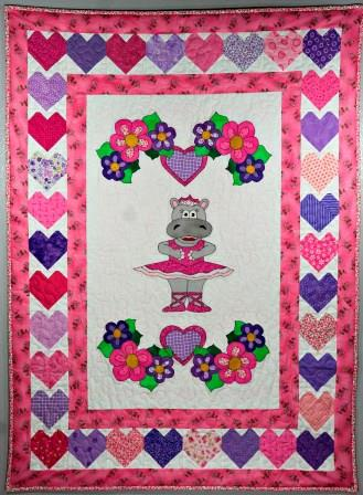 Huge Hippo Ballerina Nursery quilt pattern by Ms P Designs USA