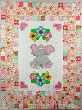 Elephant Quilt w/ Flowers