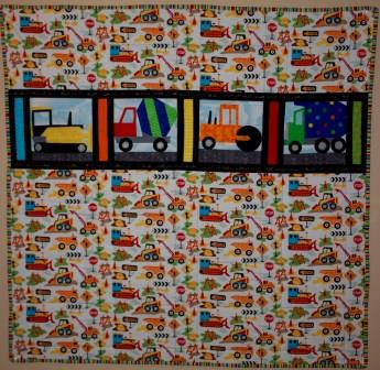 Construction Vehicles Quilt by Ms P Designs USA
