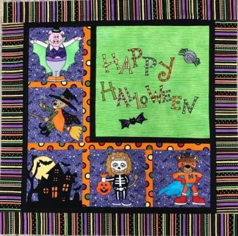 Linda's Halloween Quilt with Appliques by Ms P Designs US