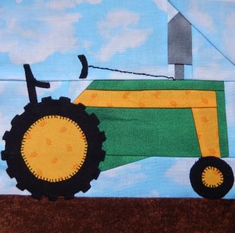 Tractor Paper Pieced Block by Ms P Designs USA