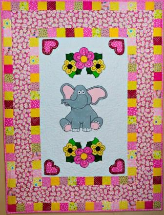 Elephant with Flowers Nursery Quilt by Ms P Designs USA