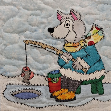 Ice Fishing Husky Applique Block Pattern