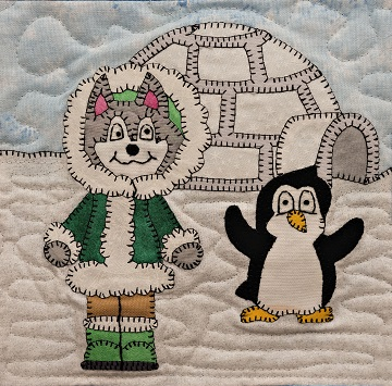 Husky with Penguin and Igloo Applique Block Pattern