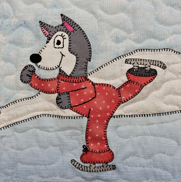 Ice Skating Husky Applique Block Pattern