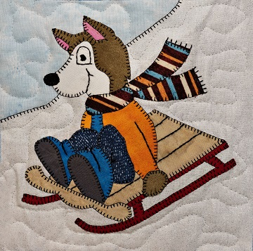 Sledding Husky Applique Block Pattern