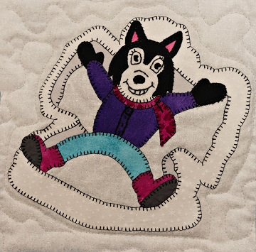 Snow Angel Husky Applique Block Pattern