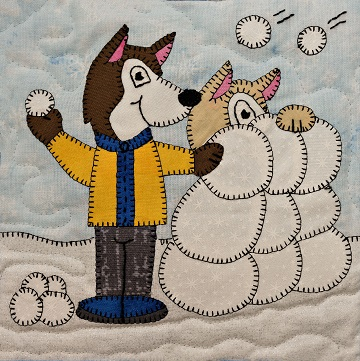 Snowball Fight Huskies Applique Block Pattern