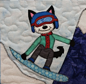 Snowboard Husky Applique Block Pattern