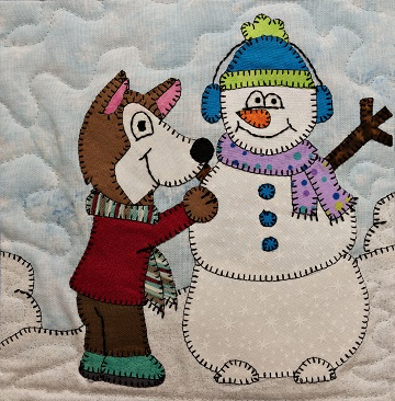 Husky with Snowman Applique Block Pattern