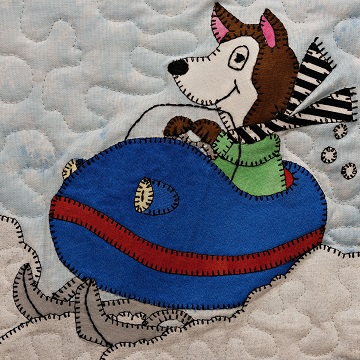 Snowmobile Husky Applique Block Pattern