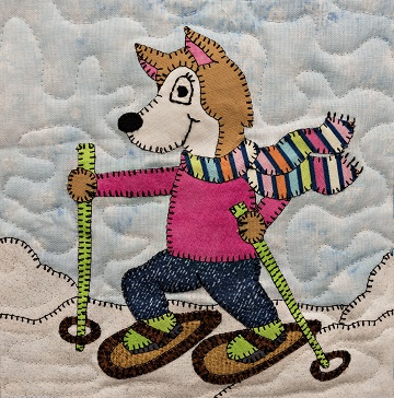 Snowshoe Husky Applique Block Pattern