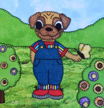 Pug Puppy Boy with Butterfly by Ms P Designs USA