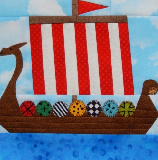 Viking Dragon Ship Paper Pieced Block by Ms P Designs USA
