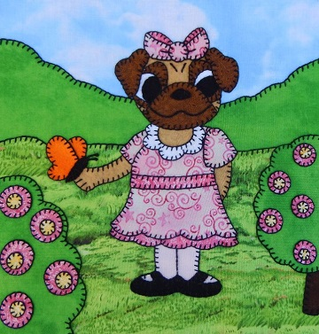 Pug Puppy Girl with Butterfly by Ms P Designs USA