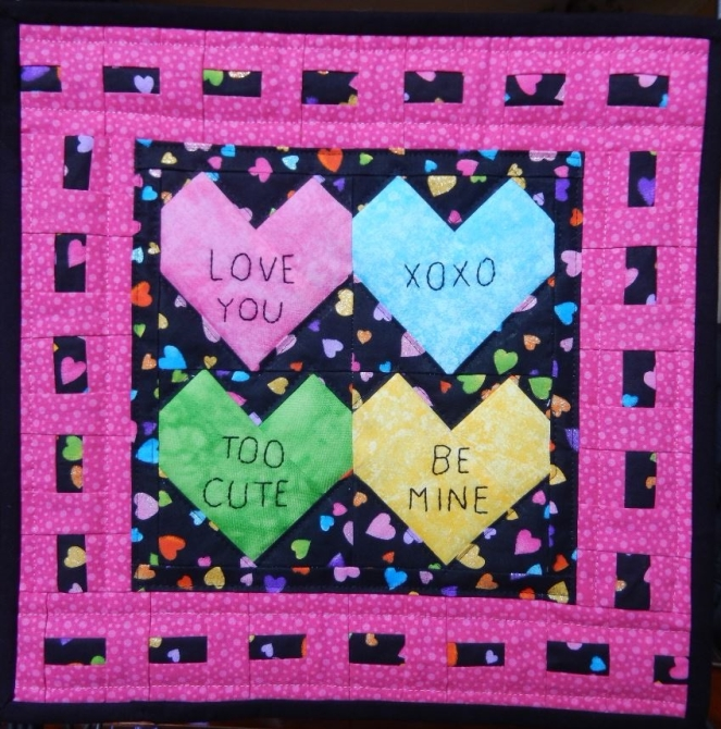 Conversation Hearts Miniature Quilt