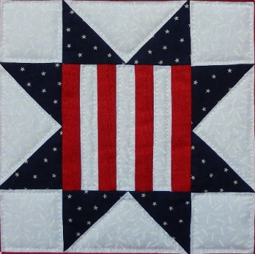Patriotic Star quilt block by Ms P Designs USA