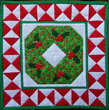 Christmas Wreath Miniature Quilt by Ms P Designs USA