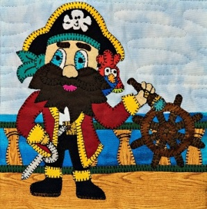 Pirate Captain Applique Quilt Block by Ms P Designs USA