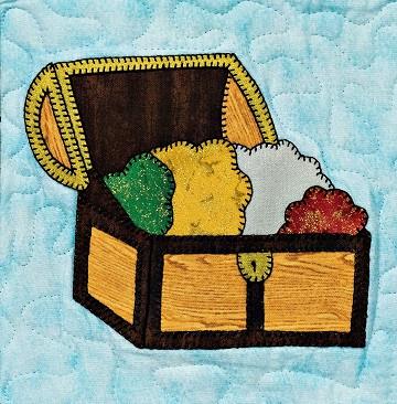 Pirate's Treasure Chest Applique Quilt Block by Ms P Designs USA