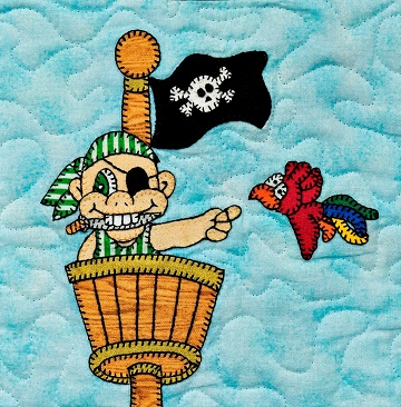 Crows nest Pirate Applique Quilt Block by Ms P Designs USA