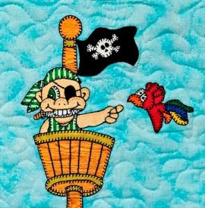 Crows nest Pirate Applique Quilt Block by Ms P Designs USA