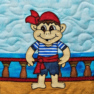 Deck Hand Pirate Applique Quilt Block by Ms P Designs USA