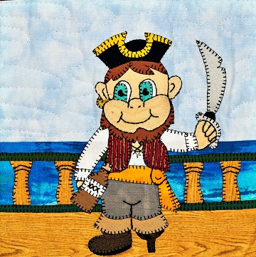 Fearless First Mate Pirate Applique Quilt Block by Ms P Designs USA