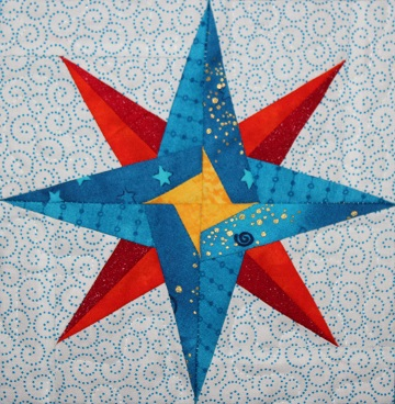 Mariner's Star Paper Pieced Block by Ms P Designs USA