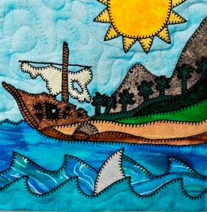Pirate's Shipwreck Applique Quilt Block by Ms P Designs USA