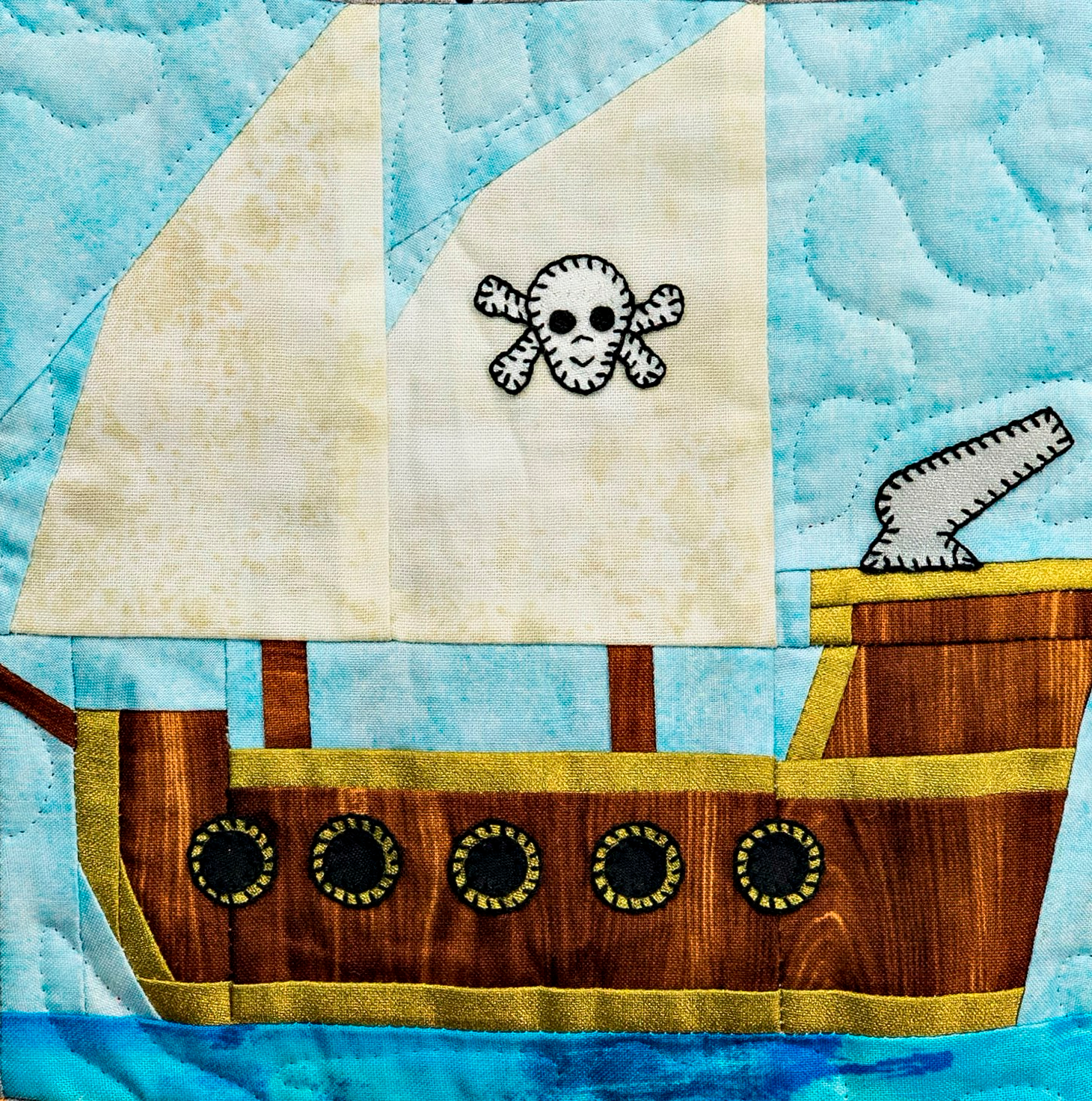 Pirate Ship Paper Pieced Block by Ms P Designs USA