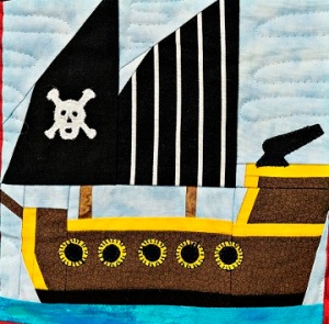 Pirates' Ship Paper Pieced Quilt Block by Ms P Designs USA