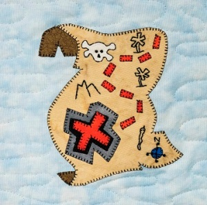Pirate's Treasure Map Applique Quilt Block by Ms P Designs USA
