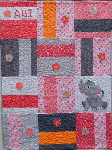 Asian elephant nursery quilt by Ms P Designs USA