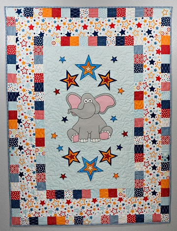Elephant with stars nursery quilt by Ms P Designs USA