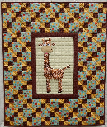 Giraffe with double 4-patch blocks nursery quilt by Ms P Designs USA