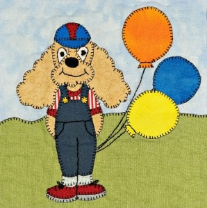 Spaniel with balloons applique pattern
