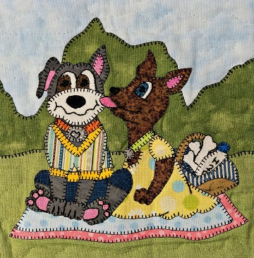 Picnic Stafforshire terriers applique pattern