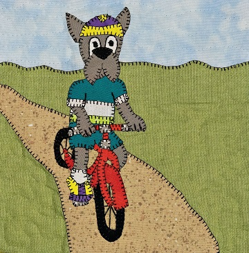 Biking Great Dane applique pattern
