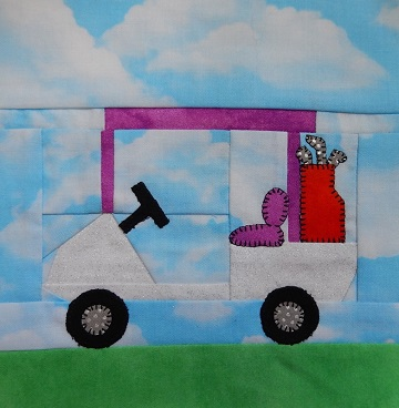 Golf Cart paper pieced pattern by Ms P Designs USA