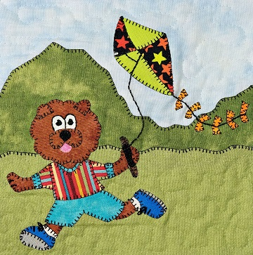 Kite-flying chow chow applique pattern