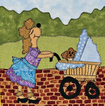 French poodle with baby carriage applique pattern