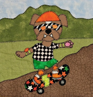 Skateboarder English bulldog applique pattern