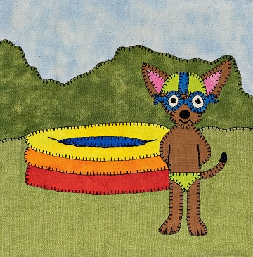 Chihuahua swimmer applique quilt pattern